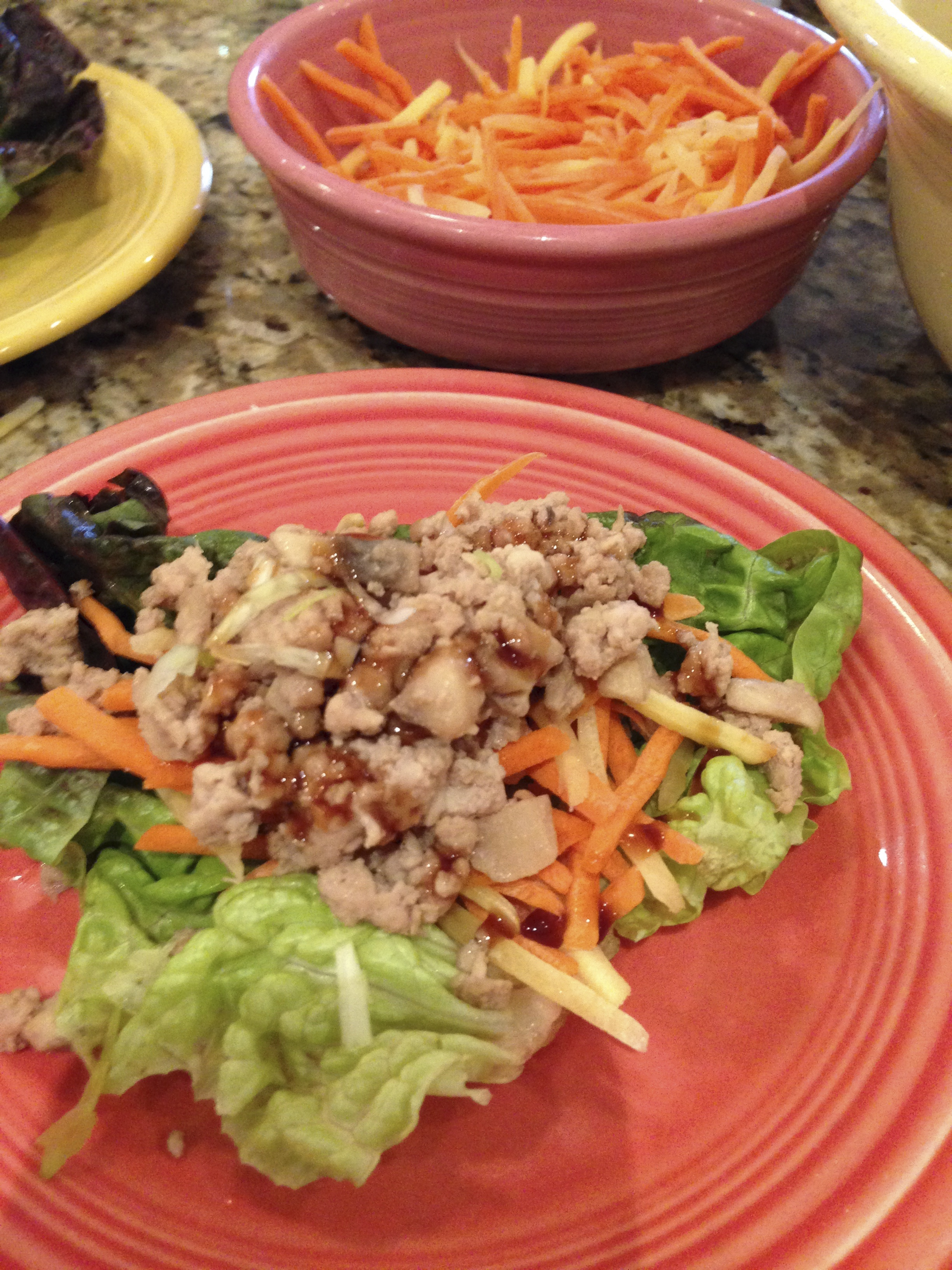 What' for dinner Mom? Asian Lettuce Wraps made with minced turkey